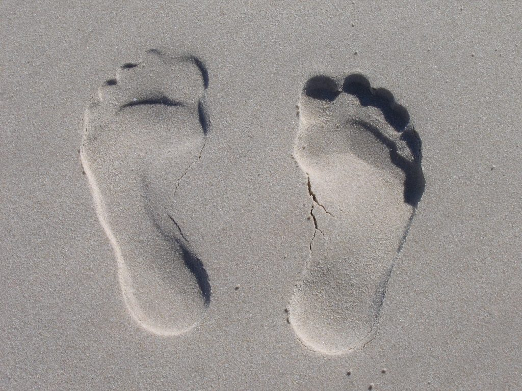 reflexology - footprints in the sand